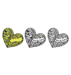 set of zentangle hand drawn doodle heart vector image