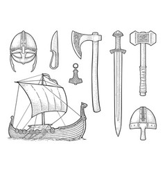 Set viking knife drakkar axe helmet sword vector