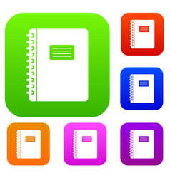 spiral notepad set color collection vector image