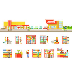 Supermarket exterior and people shopping set of vector