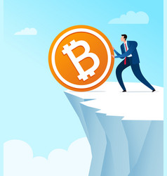 Throw away bitcoin currency saving vector