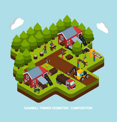 Timber production isometric composition vector