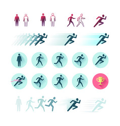 Time-lapse silhouette of a running man vector