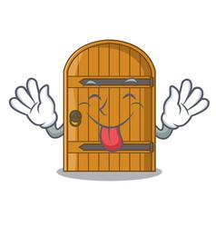 Tongue out vintage wooden door on mascot cartoon vector