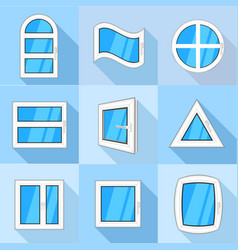 types of window icons set flat style vector image