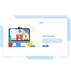 Web banner template with desktop computer with vector
