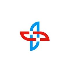 cross shape abstract circle logo vector image vector image