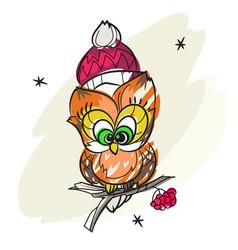 pretty owl on tree branch vector image vector image
