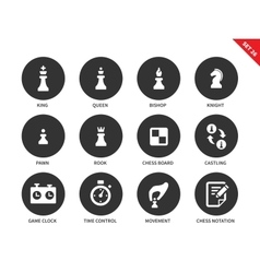 Chess figures icons on white background vector image