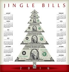 Christmas calendar with a dollar christmas tree vector
