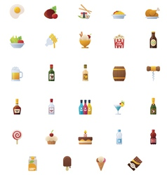 Food and drinks icon set vector image vector image