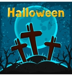 Happy halloween greeting card with cemetery and vector image