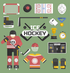 hockey sport icons equipment and player design vector image
