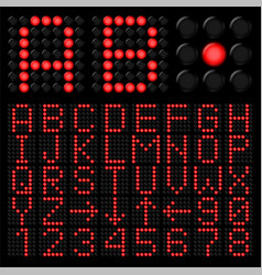 red digital alphabetic and numeric characters on vector image vector image