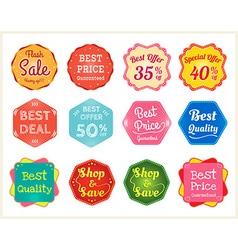 Set of retro promotion discount sale label vector image vector image