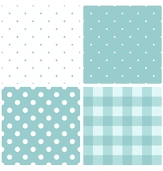 Tile blue and white pattern set with polka dots vector image vector image