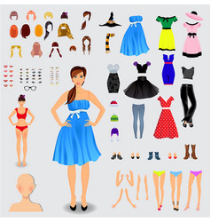 big set for creation unique girl character vector image