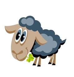 cute gray sheep with lucky clover cartoon vector image