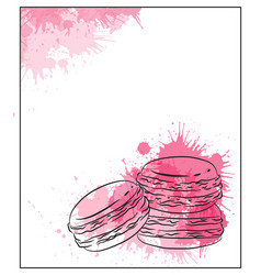 delicate card with contour drawing of macaroon vector image