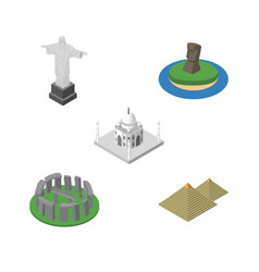 isometric architecture set of india mosque vector image vector image