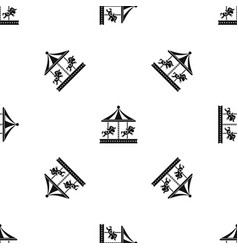 Merry go round horse ride pattern seamless black vector