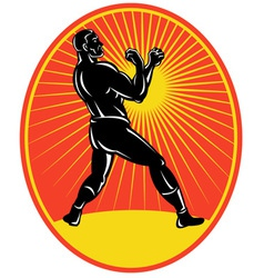 Vintage boxer boxing retro side view vector