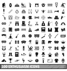 100 enthusiasm icons set simple style vector