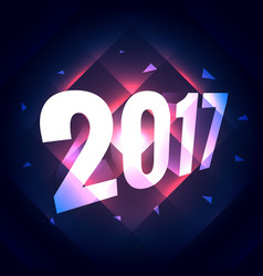 2017 new year text effect with shiny lines effect vector image
