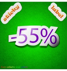 55 percent discount icon sign Symbol chic colored vector