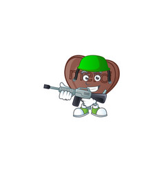 A mascot one bite love chocolate as an army vector