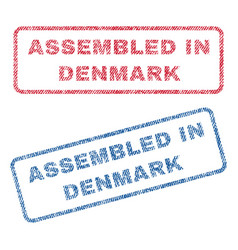 assembled in denmark textile stamps vector image