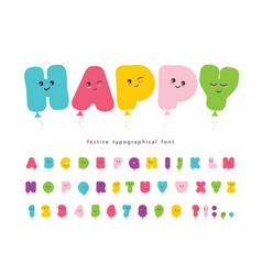 Balloon comic font for kids kawaii colorful abc vector