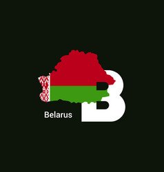 belarus initial letter country with map and flag vector image