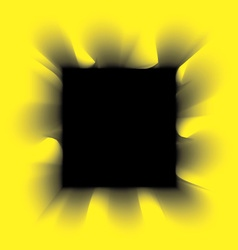 Black smoke square on a yellow background vector image
