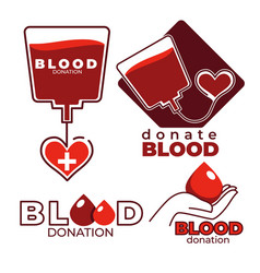 Blood donation and charity isolated icons heart vector