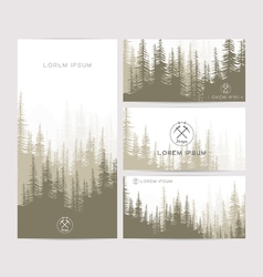 Business cards design set brown forest and vector