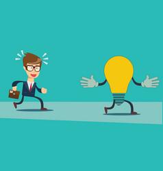 businessman run after idea bulb choices idea and vector image
