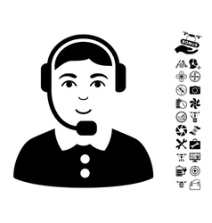 Call center operator icon with copter tools bonus vector