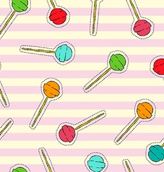 Candy lollipop art stitch patch background vector