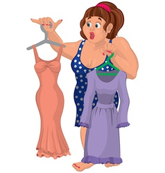 Cartoon overweight young woman holding dresses vector image