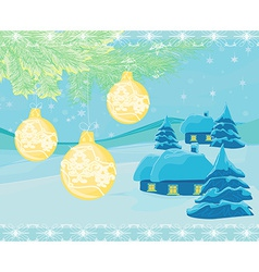 Christmas night in the village card vector image