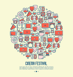 cinema festival concept in circle vector image