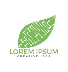 Circuit leaf logo design vector