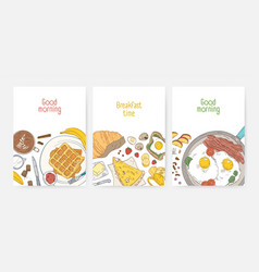 collection poster or card templates with tasty vector image