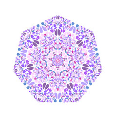 Colorful ornate floral mosaic ornament heptagon vector