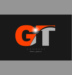 Combination letter gt g t in grey orange color vector