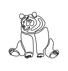Continuous one line sitting bear vector