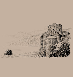Crete island ruins of the fortress on the beach vector