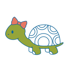 cute female turtle character icon vector image