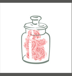Cute single rose under flask glass pink vector